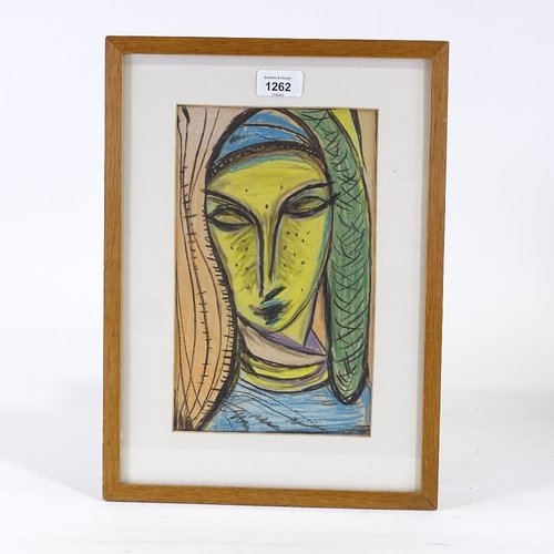 1262 - Swedish School, coloured pastels, woman's head, unsigned, 11
