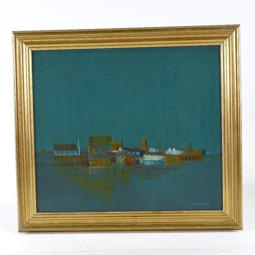 1268 - Wright, oil on board, abstract landscape, signed, 12