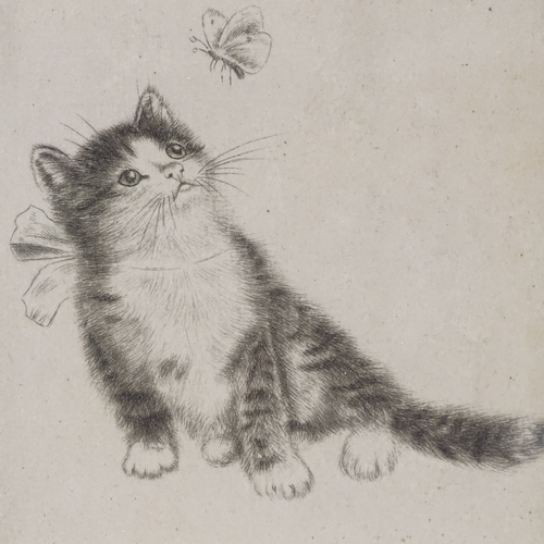 1275 - Foujita, etching, cat and butterfly, signed in pencil, plate 3.75