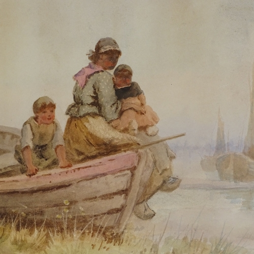 1277 - A Poisson, watercolour, fisherfolk, signed and dated 1892, 10