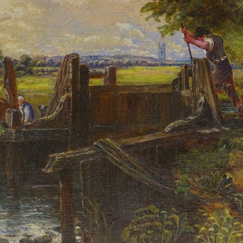 1282 - Follower of John Constable, 19th century oil on canvas, the canal lock, 24