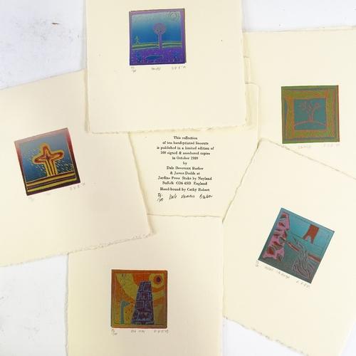 1284 - Dale Devereux Barker (born 1962), set of 10 colour lino-cut prints, abstract compositions, 1989, all...