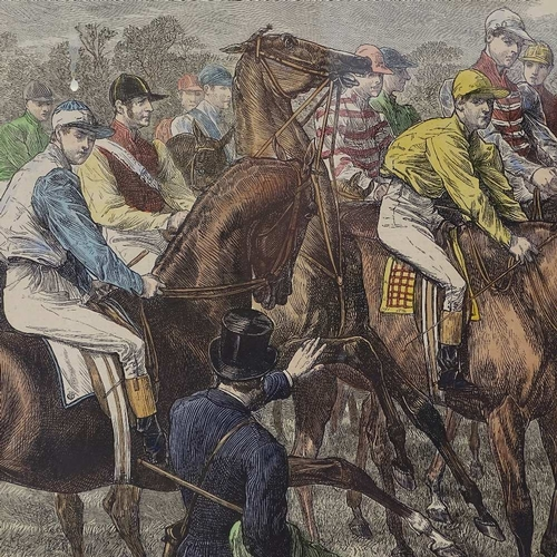 1286 - 19th century hand coloured print, the Derby - at the starting post, image 11