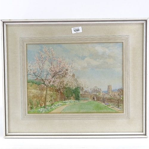 1292 - Alfred Parsons (1847 - 1920), watercolour, garden scene, signed, 10.5