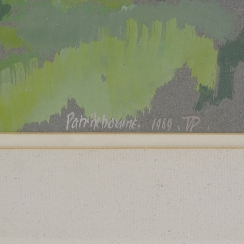 1294 - Patrix Born, gouache on grey paper, church Kent, signed and dated 1969, 19