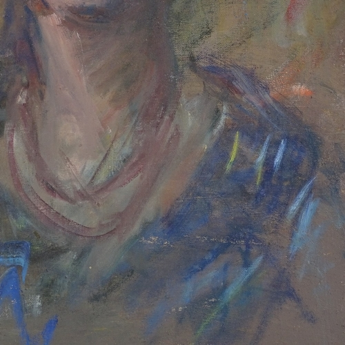 1302 - Early 20th century oil on canvas, portrait of a woman, unsigned, 24