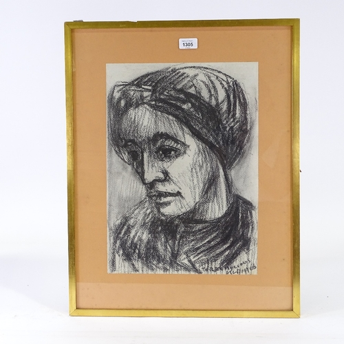 1305 - Klampt, charcoal portrait of a woman, signed and dated 1966, 17.5