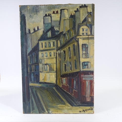 1307 - H Rozanes, mid-century oil on canvas, street scene, signed, 32