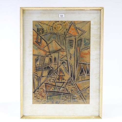 1309 - Mid-century watercolour gouache on board, cubist townscape, indistinctly signed and dated '54, 23