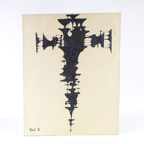 1310 - Flint, oil on board, abstract black cross, signed and dated '61, 29