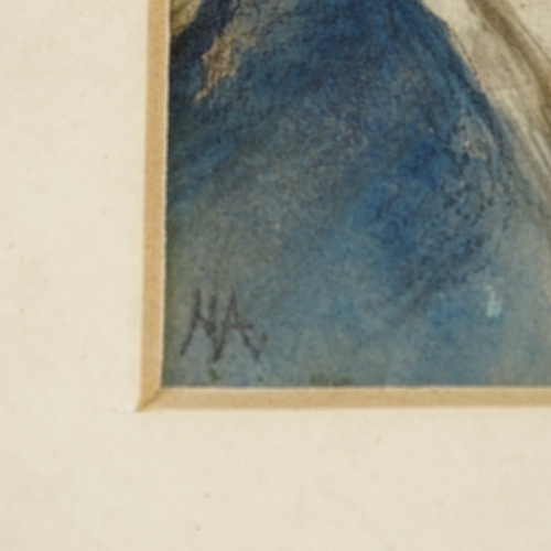 1311 - Circle of Helen Allingham, watercolour, portrait of a girl, signed with monogram, 6