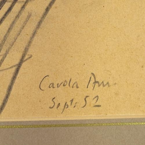 1313 - Follower of Augustus John, pencil/crayon drawing, young child, 1952, 13