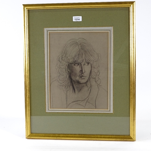 1314 - Follower of Augustus John, pencil/charcoal, portrait of a woman, unsigned, 13