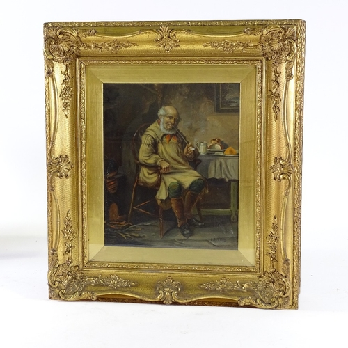 1319 - A Austine, pair of 19th century oils on canvas, portraits of farmer and his wife, signed, 12