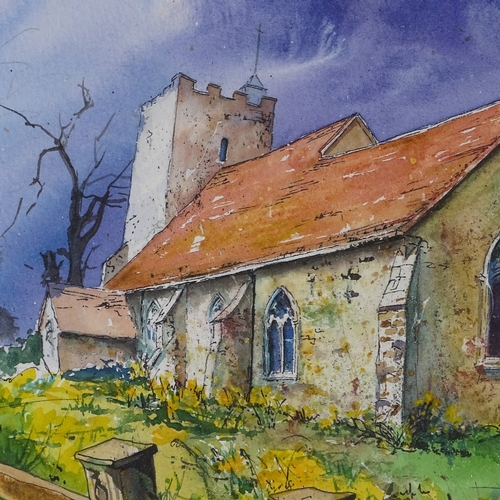 1324 - Martin Bradshaw, watercolour, Sussex church, 18