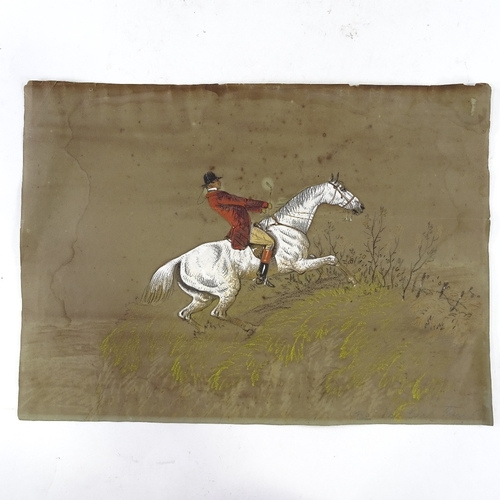 1331 - A set of 3 19th century coloured pastel hunting scene drawings, unsigned, 10