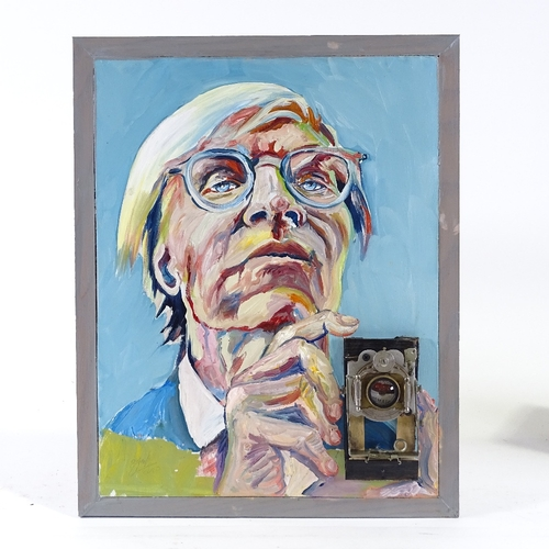 1335 - Clive Fredriksson, mixed media, oil on board, with Vintage camera Andy Warhol, 19.5