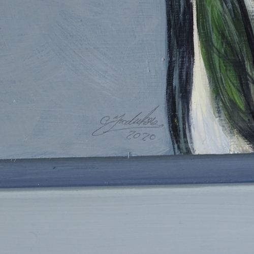 1337 - Clive Fredriksson, oil on board, pelicans, overall frame dimensions 27