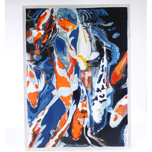 1338 - Clive Fredriksson, oil on canvas, Koi Carp, framed, overall dimensions 28