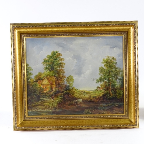 1342 - Laine Porter, oil on canvas, rural scene, signed, 16