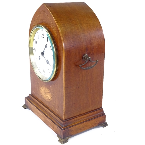 498 - A French mahogany lancet-top 8-day mantel clock, satinwood inlay with brass mounts and white enamel ...