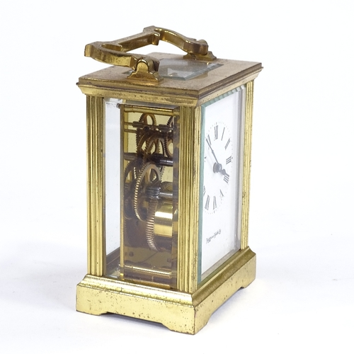 504 - A Mappin & Webb brass cased 8-day carriage clock, case height 11cm, with outer travelling case...