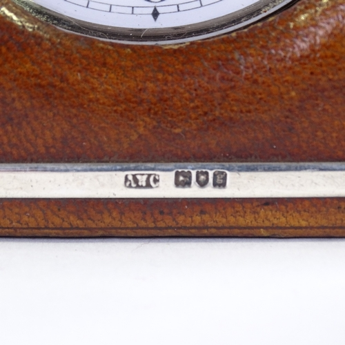 506 - An Victorian nickel-cased Goliath travelling timepiece, in silver-mounted leather travelling case, c...