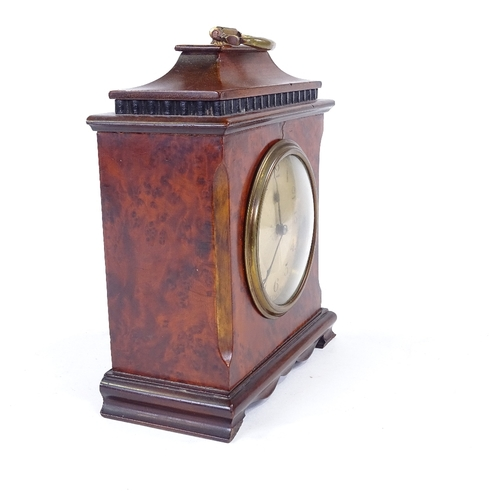 507 - An early 20th century French amboyna wood mantel clock, chinoiserie style, case height 19cm...