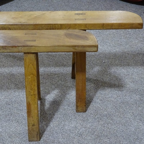 280 - A pair of 19th century French fruitwood trestle type benches, length 2m...