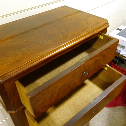 326 - A 19th century French mahogany tall chest of 7 drawers, on bracket feet, width 72cm, height 1.41m...