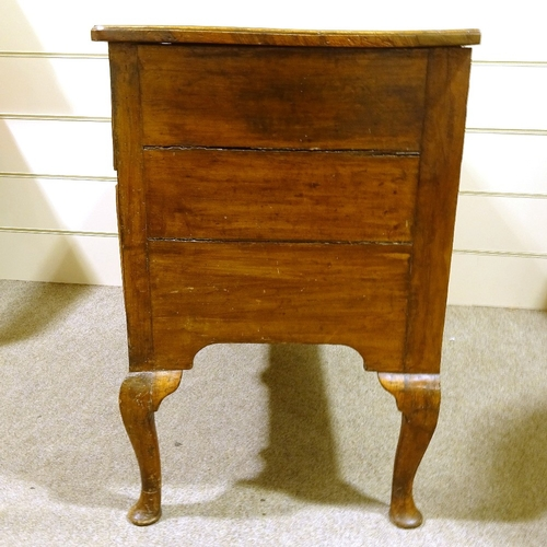 327 - An 18th century walnut chest on stand, quarter veneered top on cabriole legs, width 102cm, height 87...