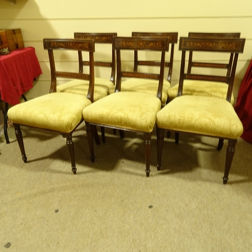 349 - A set of 6 19th century mahogany and marquetry inlaid dining chairs, on turned legs...