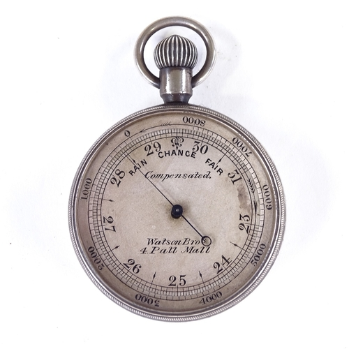 390 - A miniature Victorian silver-cased pocket barometer, by Watson Bros of Pall Mall, diameter 4cm, orig...