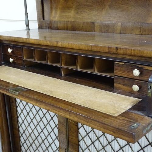 83 - A Regency rosewood secretaire chiffonier, brass-mounted panelled shelf above, brass inlaid secretair...