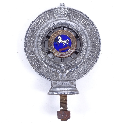 162 - A Vintage Royal Automobile Club Associated of Kent Automobile Club car badge