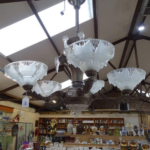 603 - A French Art Deco frosted Ezan glass icicle 5-branch chandelier, by Henri Petitot, branch length 21c...