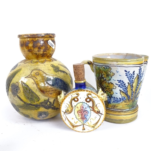 19 - A group of Majolica pottery, including Italian Certosa Di Firenze flask, jug etc, largest height 21c...