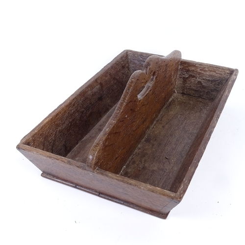 21 - A Georgian oak housemaid's cutlery tray, length 38cm...