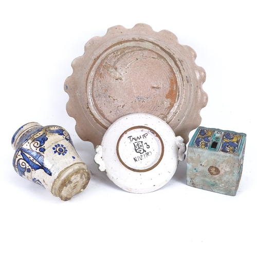 22 - A group of European Maiolica pottery, including architectural design inkwell, floral frilled plate e...