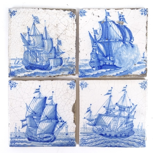 25 - A group of Delft blue and white tiles, sailing ship designs, all approx 13cm square (4)...