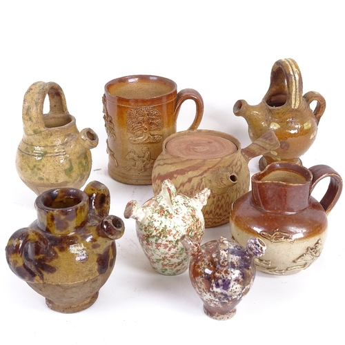 26 - A group of stoneware pottery, including miniature Sarum kettle jugs, salt glaze mug etc (8)...
