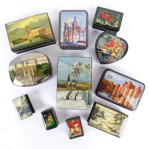 28 - A group of Russian black lacquer Palekh boxes, some with hand painted lids, largest length 13.5cm (1...
