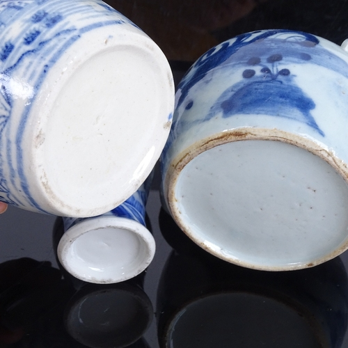 29 - A group of Chinese blue and white ceramics, including pottery bowls, teapot, baluster vase etc (7)...