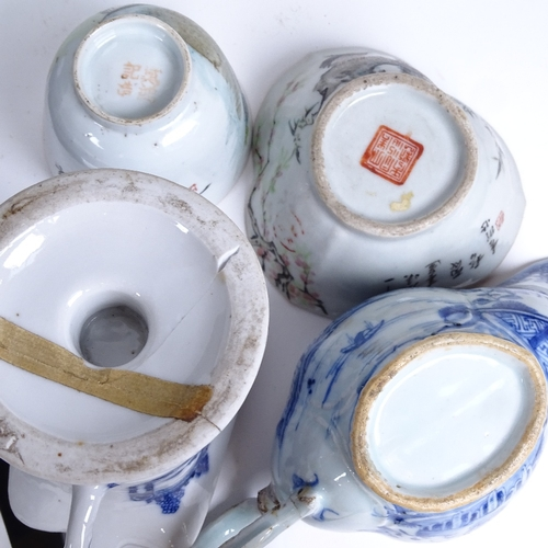 33 - Various Chinese ceramics, including Chinese export blue and white pedestal cream jug, a triple-lobed...