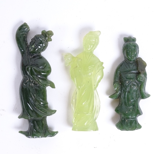 37 - A group of Oriental hardstone carved figures, including soapstone kylin, jadeite Guanyin etc, larges...