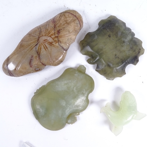38 - A group of jade and jadeite carvings, including fish, Buddha, stemmed cups, ashtray etc (8)...