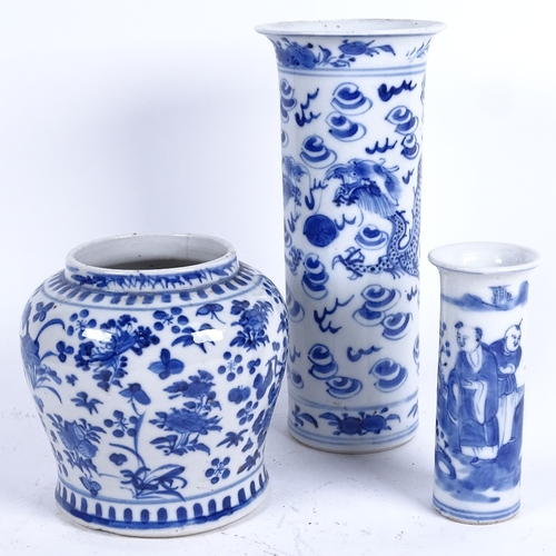 42 - 3 Chinese blue and white ceramics, including squat baluster jar, dragon sleeve vase with 4 character...