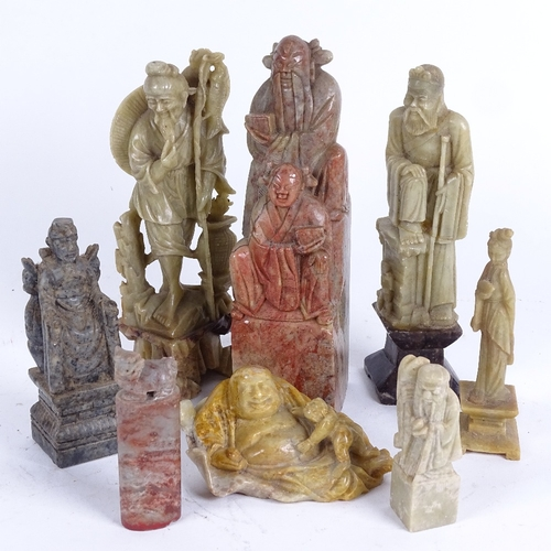 45 - A group of Oriental hardstone carvings and figures, largest height 17cm (8)...
