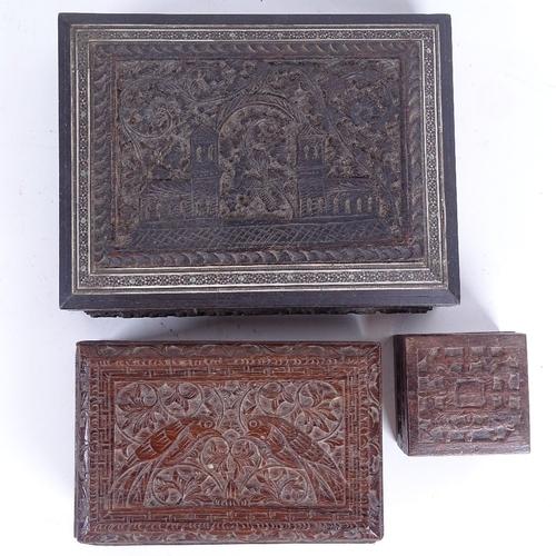48 - 3 Eastern carved hardwood boxes, including Vizgapatam example, length 20cm (3)...