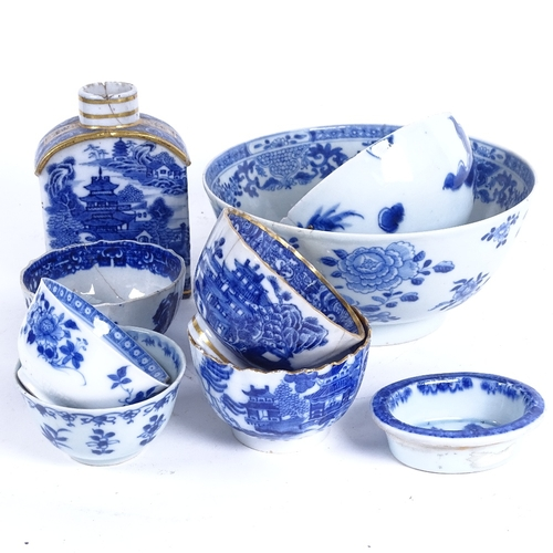50 - A group of Chinese blue and white ceramics, including gilded tea bowls and caddy, 18th century drago...